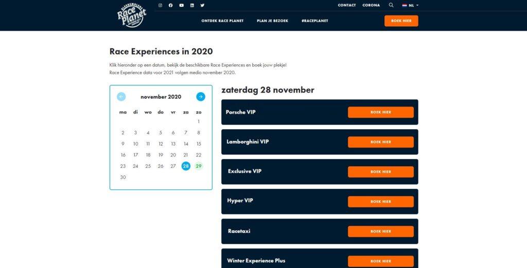 Bekijk de agenda voor alle data van de Race Planet Race Experiences op Circuit Zandvoort.